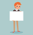 young man holding blank sign vector image