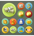 Money and coins business and finance long shadow vector image vector image