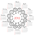 zodiac calendar vector image vector image