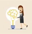 business woman hugs a big lightbulb brain big vector image