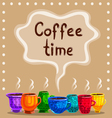 Card with a cup of hot coffee vector image