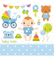 Cute cartoon baby boy set vector image