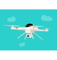 Flying drone with camera vector image
