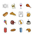 food icons set cartoon vector image