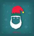silhouette of a christmas elf head with a white vector image