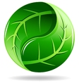Yin Yang symbol in a leaf design vector image