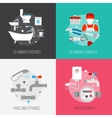 Plumber icon composition set vector image