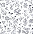 Black and white decorative floral seamless pattern vector image