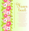 Card with with hibiscus flowers and Monstera vector image vector image