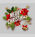 christmas decoration fir wreath bow golden bells vector image