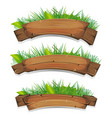 comic wood banners with plants leaves vector image