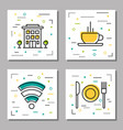 four hotel service linear icons vector image