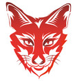 fox head tattoo brand red isolated on white vector image