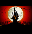 Halloween scary house on full moon background vector image