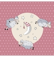 Sleeping cute sheep with moon vector image