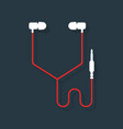white and red headphones vector image