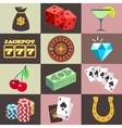 Flat gambling casino money win jackpot luck vector image