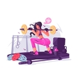 Fitness girl in gym vector image