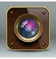 Wooden luxury photo camera icon vector image vector image