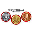 gold silver bronze place badge medal set vector image