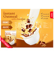 instant oatmeal with chocolate advert concept vector image vector image
