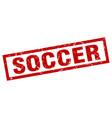 square grunge red soccer stamp vector image