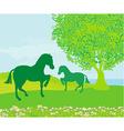 Horses in field vector image