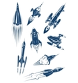 Cartoon spaceships and rockets in space vector image vector image