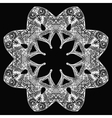 White flower round pattern on black vector image