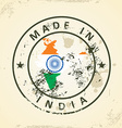 Stamp with map flag of India vector image vector image
