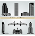 Portland landmarks and monuments vector image