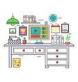 flat line design workplace desk creative office vector image