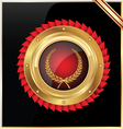 round gold and red glossy label vector image