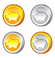 Coins with piggy bank sign vector image