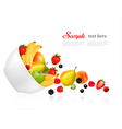 Fruit and berries falling from a bowl Concept of vector image