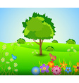 Green Landscape spring with Flowers vector image vector image