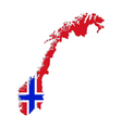 Map and flag of Norway vector image vector image