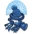 winter clothing wool scarf mittens and hat vector image