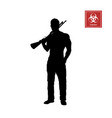 black silhouette of man with shotgun vector image