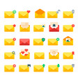 email yellow message letter envelopecover icons vector image
