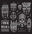 set of african ethnic tribal masks with boho vector image