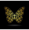 Yellow butterfly with floral pattern vector image