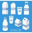 Flat design milk icons vector image