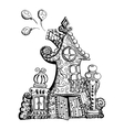 Original hand drawn doodle style fairy house Can vector image