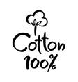 Natural organic cotton label sticker logo vector image