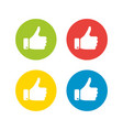 white hand silhouette with thumb up in the circle vector image