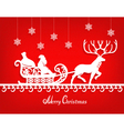Santa Claus paper silhouette on the red texture vector image