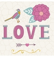 Cute Valentines day card with word love flowers vector image