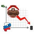 Bear and graph of fall of Russian ruble Fall of vector image