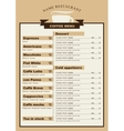 menu for the cafe with a cup of coffee vector image
